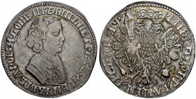 RUSSIAN EMPIRE AND FEDERATION. Peter I, 1682-1725. Rouble 1704, Kadashevsky Mint, MД. Overstruck on a Thaler of the United Netherlands from the first ...