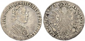RUSSIAN EMPIRE AND FEDERATION. Peter I, 1682-1725. Polupoltinnik o. J. (1704), Kadashevsky Mint, МД. Type with rivets on sleeve. 6.93 g. Bitkin 716 (R...