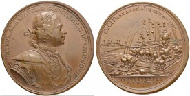 RUSSIAN EMPIRE AND FEDERATION. Peter I, 1682-1725. Bronze medal 1704. On the Capture of Narva. Dies by T. Ivanov. Laureate and armored bust to right i...