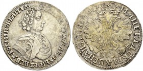 RUSSIAN EMPIRE AND FEDERATION. Peter I, 1682-1725. Poltina 1705, Kadashevsky Mint. 14.10 g. Bitkin 559 (R1). Diakov 200 (R2). Very rare, especially in...