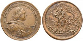 RUSSIAN EMPIRE AND FEDERATION. Peter I, 1682-1725. Bronze medal 1708. On the Battle of Leesno. Dies by T. Ivanov. Laureate and armored bust in mantle ...