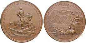 RUSSIAN EMPIRE AND FEDERATION. Peter I, 1682-1725. Bronze medal 1708. On the Battle of Leesno. Dies by I. Kettel. Peter I on a horseback galloping thr...