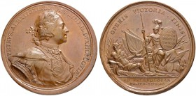 RUSSIAN EMPIRE AND FEDERATION. Peter I, 1682-1725. Bronze medal 1709. On the Victory at Perevolochna. Dies by T. Ivanov. Laureate and armored bust to ...