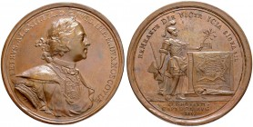 RUSSIAN EMPIRE AND FEDERATION. Peter I, 1682-1725. Bronze medal 1710. On the Capture of Pernau. Dieses by T. Ivanov and S. Yudin. Laureate and armored...