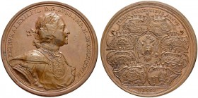 RUSSIAN EMPIRE AND FEDERATION. Peter I, 1682-1725. Bronze medal 1710. On the Military Successes. Dies by T. Ivanov. Laureate and armored bust to right...