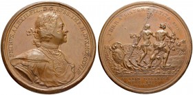 RUSSIAN EMPIRE AND FEDERATION. Peter I, 1682-1725. Bronze medal 1713. On the Landing of Russian Troops at Abo. Dies by T. Ivanov. Laureate and armored...