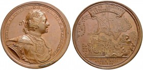 RUSSIAN EMPIRE AND FEDERATION. Peter I, 1682-1725. Bronze medal 1713. On the Battle near Pelkine River. Dieses by T. Ivanov and S. Yudin. Laureate and...