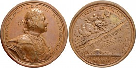 RUSSIAN EMPIRE AND FEDERATION. Peter I, 1682-1725. Bronze medal 1714. On the Battle of Vasa. Dies by T. Ivanov. Laureate and armored bust to right in ...