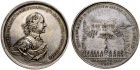 RUSSIAN EMPIRE AND FEDERATION. Peter I, 1682-1725. Silver medal 1714. On the Naval Victory at Gangut. Dies by M. Kuchkin. Laureate and armored bust in...