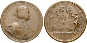 RUSSIAN EMPIRE AND FEDERATION. Peter I, 1682-1725. Bronze medal 1714. On the Naval Victory at Gangut. Dies by T. Ivanov. Laureate and armored bust to ...