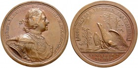 RUSSIAN EMPIRE AND FEDERATION. Peter I, 1682-1725. Bronze medal 1717. On the Establishment of the Colleges. Dies by T. Ivanov. Laureate and armored bu...