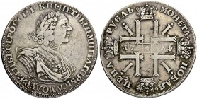 "RUSSIAN EMPIRE AND FEDERATION. Peter I, 1682-1725. Rouble 1724, St. Petersburg Mint. ""Sun Rouble"". 28.12 g. Bitkin 1320 (R1). Diakov 1450 (R2). Dav. 1..."