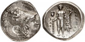 COINS OF THE GREEK WORLD. LUCANIA. Heracleia. Stater 330/325-281 BC. Ι-ΗΠΑΚΛΗΙΩΝ Head of Athena wearing Corinthian helmet to right, decorated with Sky...