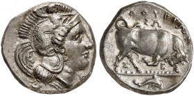 COINS OF THE GREEK WORLD. LUCANIA. Thurium. Nomos c. 350-300 BC. Head of Athena to right, wearing Attic helmet decorated with Skylla. Rv. ΘΟΥΡΙΩΝ Bull...