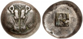 COINS OF THE GREEK WORLD. LESBOS. Mytilene. Stater, Billon 520-500 BC. Confronted heads of two calves, between them, olive twig. Rv. Incuse square. 11...