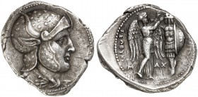 COINS OF THE GREEK WORLD. SELEUCID KINGDOM. Seleucos I Nicator, 312-280. Tetradrachm c. 305-298/7 BC, Susa. Deified head of Alexander right, wearing D...