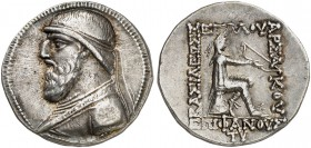 COINS OF THE GREEK WORLD. PARTHIAN EMPIRE. Mithradates II, 123-88. Tetradrachm 120/19-109 BC, Seleukeia on Tigris mint. Diademed bust left within pell...