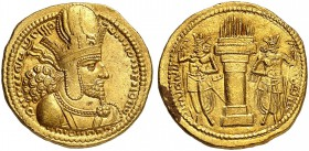 COINS OF THE GREEK WORLD. SASANIAN KINGDOM. Shapur I. 240-270. Gold Dinar 240-272, Ktesiphon. Draped bust right, wearing diadem and mural crown surmou...