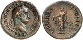 COINS OF THE GREEK WORLD. ROMAN EMPIRE. Galba, 68-69. Sestertius c. October 68, Rome. SER•GALBA•IMP•CAESAR•AVG TR•P Laureate head of Galba to right. R...