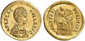 COINS OF THE GREEK WORLD. ROMAN EMPIRE. Theodosius I. 379-395. For Aelia Flaccila. Solidus 383-387, Constantinople. AEL FLAC - CILLA AVG. AEL FLAC - C...