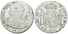 Carlos IV (1788-1808). 8 reales. 1798. Lima. IJ. (Cal-653). Ag. 26,43 g. Resello oriental. BC-. Est...20,00.