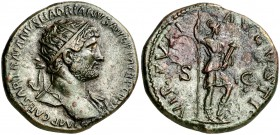 (123 d.C.). Adriano. Dupondio. (Spink 3670) (Co. 1470) (RIC. 605). 13,68 g. MBC+.