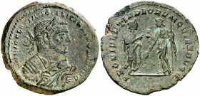 (305-307 d.C.). Diocleciano. Londinium. Follis. (Spink 12926) (Co. 426) (RIC. 77a). 10,82 g. Pátina verde. MBC.