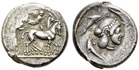 Syracuse, Hieron I, 478-466 BC. Tetradrachm 475-470 BC. Boehringer 300E (V143/R208E). AR. 17.24 g. VF