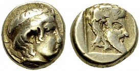 Lesbos. Mytilene. Hekte 454-427 BC. Obv. Apollo head right. Rev. Silenos head right within incuse square. HGC 6, 977. EL. 2.57 g. VF