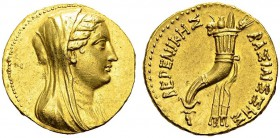 Berenice II, 244-221 BC. Gold octodrachm 244-221 BC, Alexandria. Obv. Veiled head right. Rev. ΒΕΡΕΝΙΚΗΣ ΒΑΣΙΛΙΣΣΗΣ. Cornucopia. Sear -; SNG Cop 169; S...
