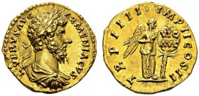 Lucius Verus, 161-169. Aureus 163-164, Rome. Obv. L VERVS AVG - ARMENIACVS. Laureate, draped and cuirassed bust right. Rev. TR P IIII IMP II COS II. N...