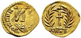 Odoacer, 476-493. Tremissis 489-492, Mediolanum. In name of emperor Zeno. Obv. D N ZENO P F AVG. Draped and diademed bust left. Rev. CONOB. Cross with...