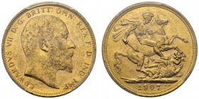 Edward VII, 1901-1910. Sovereign 1907 M, Melbourne. KM 15; Fr. 33; Spink 3971. AU. 7.98 g.