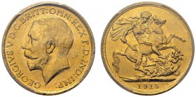 George V, 1910-1936. Sovereign 1915 S, Sydney. KM 29; Fr. 38; Spink 4003. AU. 7.99 g.