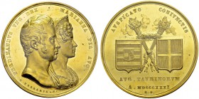 Ferdinand I, 1835-1848. Medallic 15.5 Ducats 1831 by G. Ferraris. 46 mm. Wedding of Ferdinand of Austria and Marianna Pia of Savoy. Obv. FERDINANDVS V...