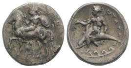 Southern Apulia, Tarentum, c. 344-340 BC. Fourrèe Nomos (23mm, 6.65g, 6h). Nude warrior on horseback l., holding spear, shield on l. arm; Δ below. R/ ...