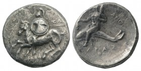 Southern Apulia, Tarentum, c. 280-272 BC. Fourrèe Nomos (21mm, 6.08g, 1h). Horseman l., holding shield and two spears; ZΩ[P] to r. R/ Phalanthos ridin...