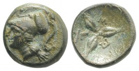 Southern Lucania, Metapontion, c. 300-250 BC. Æ (13mm, 2.25g). Head of Athena l., wearing crested Corinthian helmet. R/ Three barley grains radiating ...