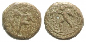 Sicily, Katane, c. 2nd-1st century BC. Æ (14mm, 3.94g, 11h). Amphinomos advancing r., carrying his father. R/ Anapias advancing l., carrying his mothe...
