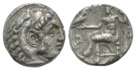 Kings of Macedon, Alexander III 'the Great' (336-323 BC). AR Drachm (15mm, 3.45g, 9h). Uncertain mint. Head of Herakles r., wearing lion skin. R/ Zeus...