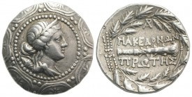 Macedon, Roman Protectorate, c. 167-149 BC. AR Tetradrachm (29mm, 16.80g, 9h). Diademed head of Artemis r., with quiver over shoulder, in the centre o...