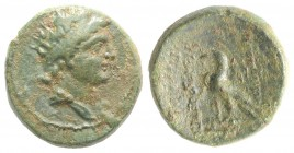 Kings of Thrace, Odrysian (Astaian). Sadalas II (c. 49/8-42 BC). Æ (16mm, 3.74g, 11h). Diademed and draped bust r. R/ Eagle standing l. on thunderbolt...