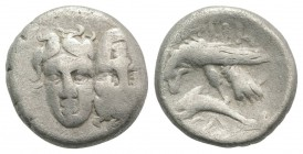 Moesia, Istros, c. 340/30-313 BC. AR Drachm (18mm, 5.20g, 9h). Facing male heads, the l. inverted. R/ Sea-eagle l., grasping dolphin with talons; Δ be...