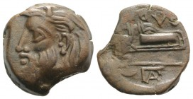 Skythia, Olbia, c. 310-280 BC. Æ (21mm, 8.39g, 6h). Horned head of Borysthenes l. R/ Axe and bow in bowcase; monogram to l. SNG BM Black Sea 520-1; SN...
