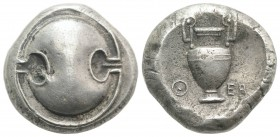 Boeotia, Thebes, c. 425-400 BC. Fake Stater (21mm, 10.79g). Boeotian shield. R/ Amphora within incuse circle. Cf. BCD Boiotia 387-7; HGC 4, 1325. 19th...