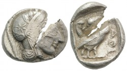 Attica, Athens, c. 454-404 BC. AR Tetradrachm (29mm, 17.18g, 9h). Helmeted head of Athena r. R/ Owl standing r., head facing; olive sprig behind; all ...