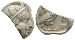 Attica, Athens, c. 454-404 BC. AR Tetradrachm (24mm, 11.47g, 3h). Helmeted head of Athena r. R/ Owl standing r., head facing; olive sprig behind; all ...