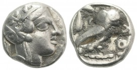 Attica, Athens, c. 454-404 BC. AR Tetradrachm (24mm, 17.23g, 9h). Helmeted head of Athena r. R/ Owl standing r., head facing; olive sprig behind; all ...