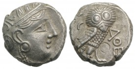 Attica, Athens, c. 327-294 BC. AR Tetradrachm (22mm, 16.97g, 9h). Head of Athena r., wearing crested Attic helmet. R/ Owl standing r.; olive sprig and...