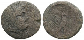 Crete, Knossos, c. 40-30 BC. Æ (28mm, 12.12g, 1h). Tauriadas, magistrate. Laureate head of Zeus r. R/ Eagle standing r., wings spread; magistrate's na...